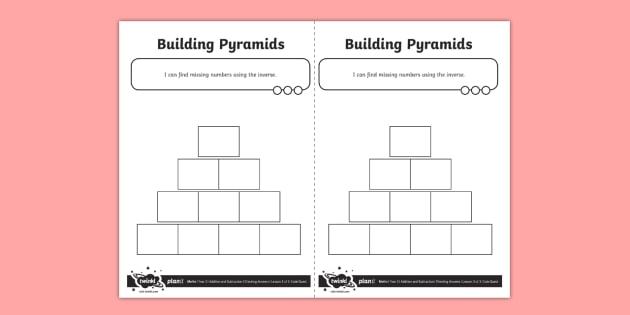 Blank Maths Pyramid Worksheet Worksheet Teacher Made