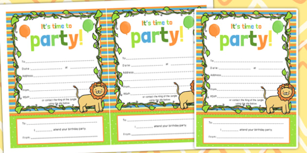 Themed birthday party invitations jungle party invite jungle themed birthday party invitations jungle party invite filmwisefo Image collections