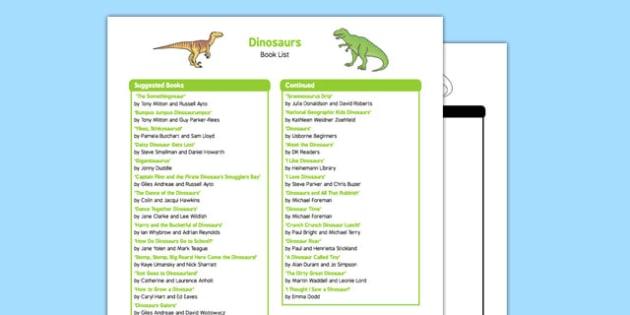 Dinosaurs Book List
