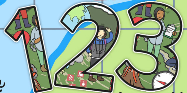Geography Themed Display Numbers - display, numbers, geography