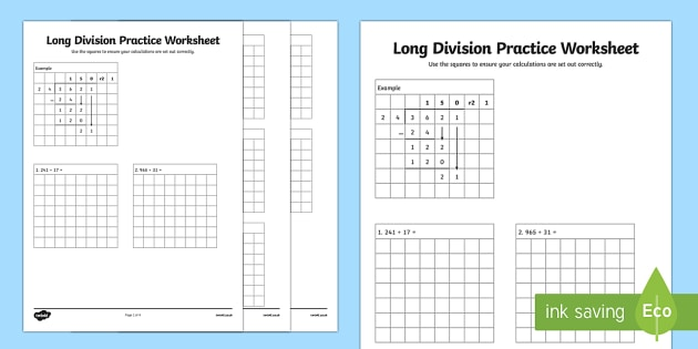Long Division Practice Worksheet  Long Division Practice