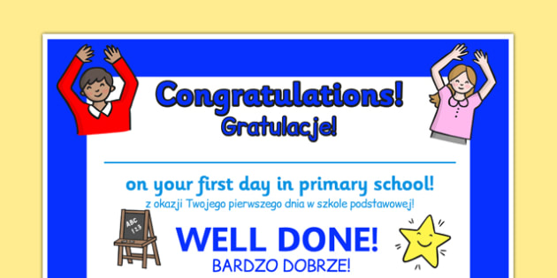 First Day Award Certificates Primary School Polish Translation - polish, First Day Award Certificate, Primary School, First Day Certificate, Primary School Certificate