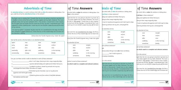 ks2 adverbials of time worksheet primary resources. Black Bedroom Furniture Sets. Home Design Ideas