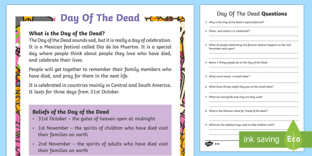 Day of the Dead 31st Oct Differentiated Reading Comprehension Activity