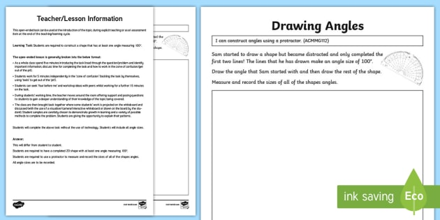 Drawing Angles Open Ended Task Worksheet Worksheet