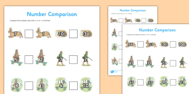 Beatrix Potter - The Story of a Fierce Bad Rabbit Differentiated Number Activity Sheet Pack - beatrix potter, fierce, bad, rabbit, worksheet