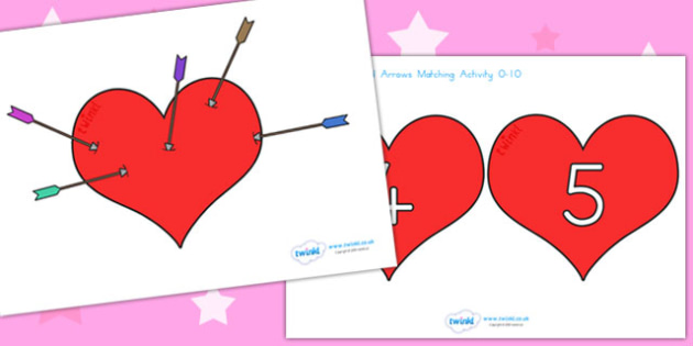 Valentine's Day Hearts and Cupids Arrow Matching Activity 0 10