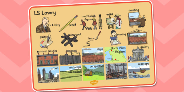 LS Lowry Word Mat - LS Lowry, Lowry, word mat, topic words, topic mat, themed word mat, writing aid, mat of words, key words, keywords, themed word mats