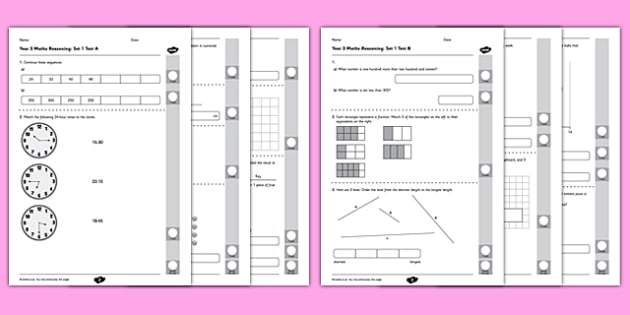 year 3 mathematics reasoning test set 1