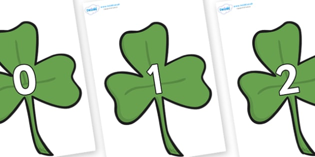 Numbers 0-50 on Clovers - 0-50, foundation stage numeracy, Number recognition, Number flashcards, counting, number frieze, Display numbers, number posters