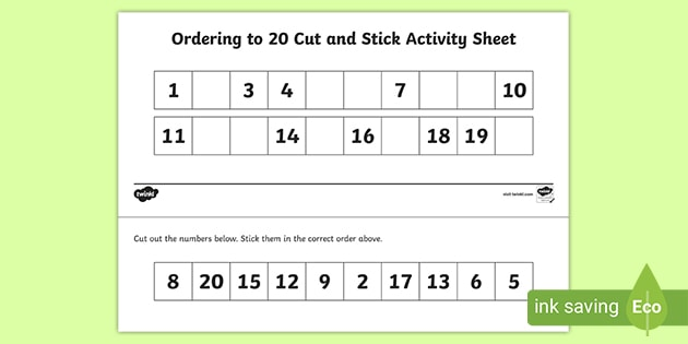 Ordering Numbers To 20 Worksheet KS1 - Maths Resources