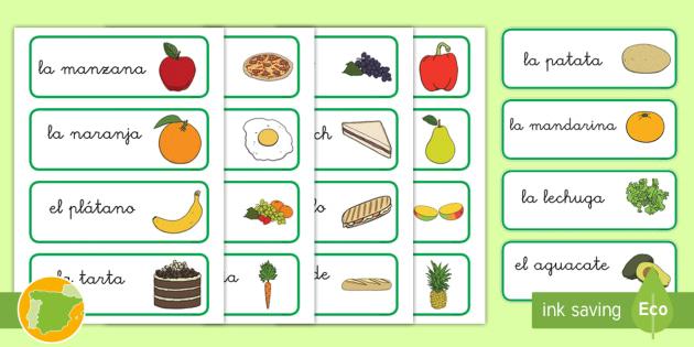 Tarjetas de vocabulario la comida tarjetas vocabulario - Alimentos en ingles vocabulario ...