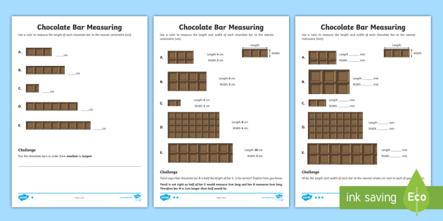 Ks1 Chocolate Bar Measuring Worksheet Teacher Made