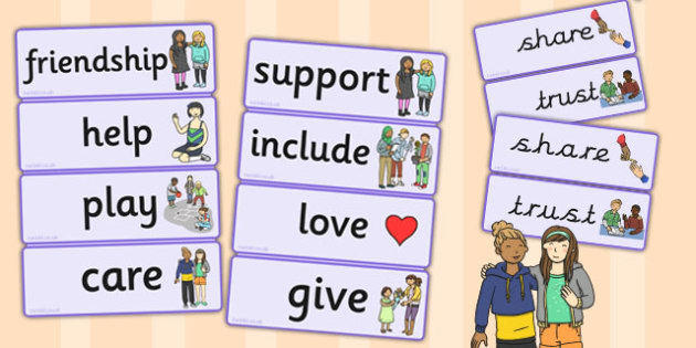 Friendship Word Cards - friendship, word, cards, word cards