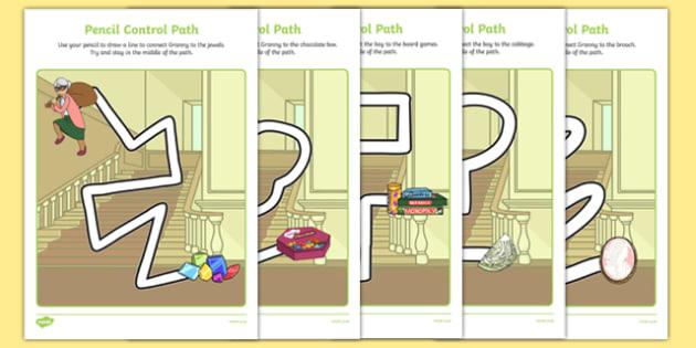 Criminal Granny Pencil Control Path Sheets - David Walliams, Gangsta Granny, literacy, literature, english, pencil, fine motor skills, drawing, in the lines,