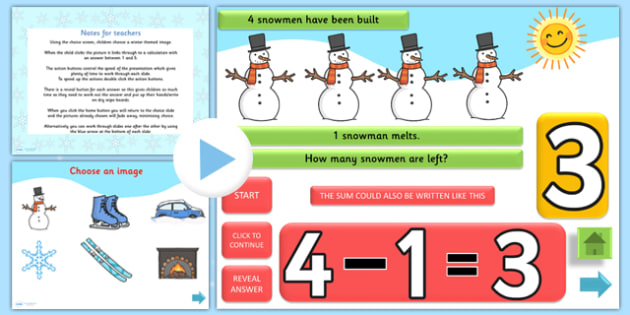 Winter Themed Subtraction PowerPoint - winter, subtraction, powerpoint, subtraction powerpoint, autumn powerpoint, numeracy, maths, numbers, take away, minus