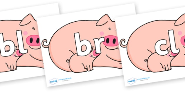 Initial Letter Blends on Hullabaloo Pigs to Support Teaching on Farmyard Hullabaloo - Initial Letters, initial letter, letter blend, letter blends, consonant, consonants, digraph, trigraph, literacy, alphabet, letters, foundation stage literacy