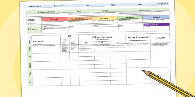 image about Weekly Planning Sheets named Literacy Weekly Designing Template - lesson program, packages
