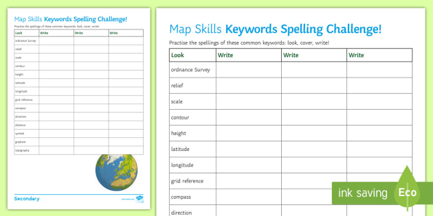 Map Skills Keywords Spelling Challenge Worksheet Activity – Map Scales Worksheet