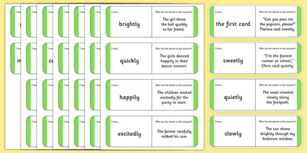 Australian Year 2 Adverbs Loop Cards - australia, Phonics, grammar, language, literacy, adverbs, loop cards, talking, listening, ACELA1452