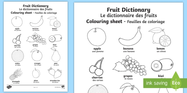 Fruit Dictionary Colouring Page English French