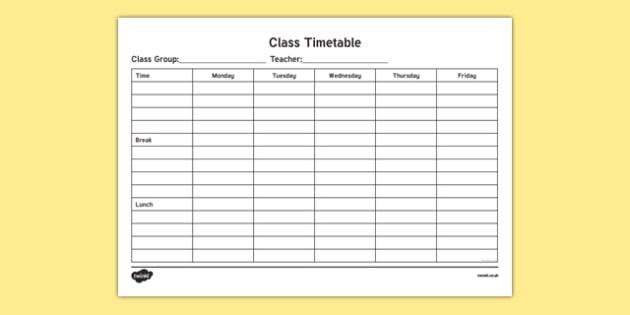 Class Timetable ChecklistIrish