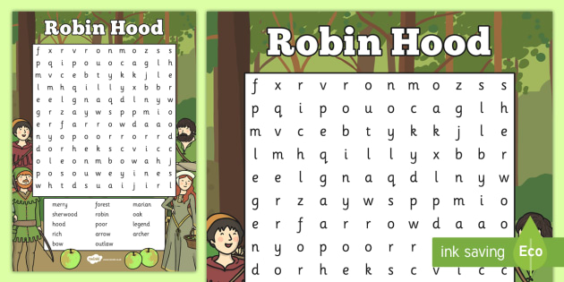 Robin Hood Wordsearch - robin hood, wordsearch, robin, hood