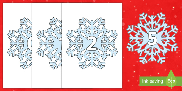 Numbers 0-31 on Snowflakes - Snowflake, winter, Foundation Numeracy, Number recognition, Number flashcards, 0-30, A4, display, snow, winter, frost, cold, ice, numeracy, numbers, counting, numbers to 31, snowflakes, display