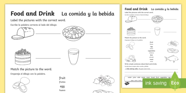 Food and Drink Worksheet / Worksheet English/Spanish - Familiar Topics