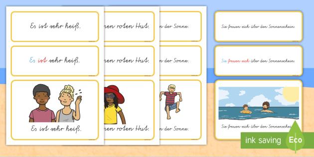 Sommer: einfache Sätze Wort- und Bildkarten - Sommer, einfache