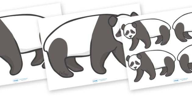 Editable Panda (A4) - Panda, Panda Bear, bear, Asia, A4, bears, forest, trees, animal, animals, wild
