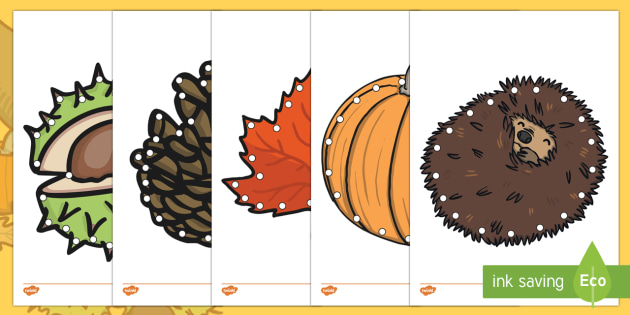 Autumn Themed Lacing Cards - EYFS, Early Years planning, PS&ED, autumn, lacing, activity