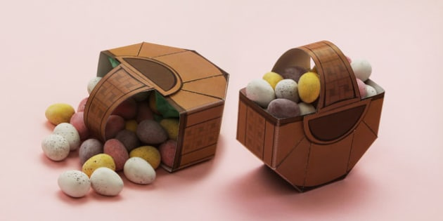 Easter Treat Basket Paper Model Easter Paper Model Craft