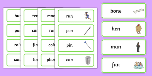 Final 'N' Sound Word Cards - final n, sound, word cards, cards