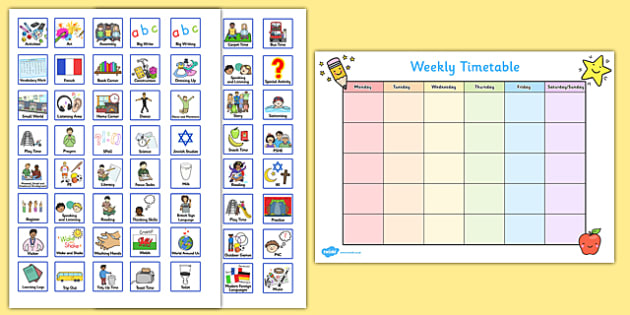 Weekly Planner with Cards Visual Timetable - visual aid, early years, ks1, ks2, SEN, schedule, week, routine, lessons, information