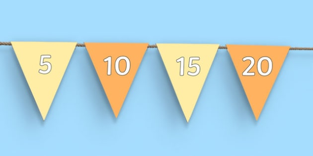 Counting in 5s Bunting - counting, count, displays, display