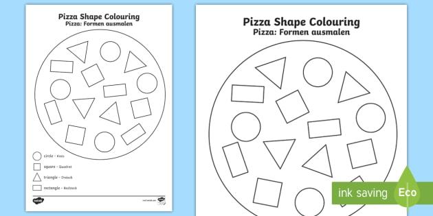 Shape Pizza Colouring Activity English/German