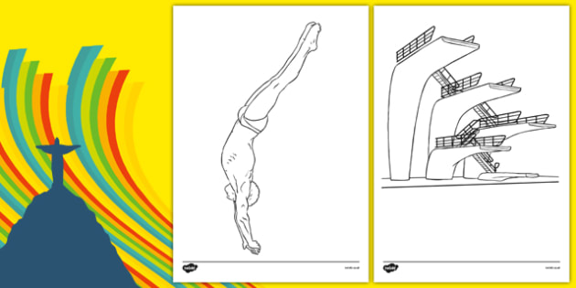 The Olympics Diving Colouring Sheets - Diving, Olympics, Olympic Games, sports, Olympic, London, 2012, colouring, fine motor skills, poster, worksheet, vines, A4, display, activity, Olympic torch, events, flag, countries, medal, Olympic Rings, mascot