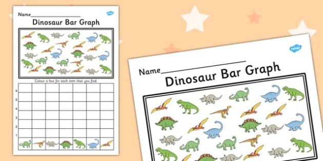 Dinosaur Bar Graph Activity Worksheet - graph, activity, dinosaur