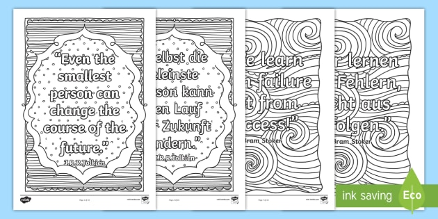 Classroom Inspiration Quotes Mindfulness Colouring Pages English German