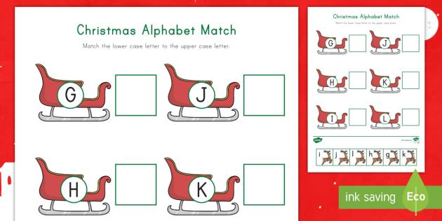 Christmas Alphabet G L Matching Worksheet Activity Sheet