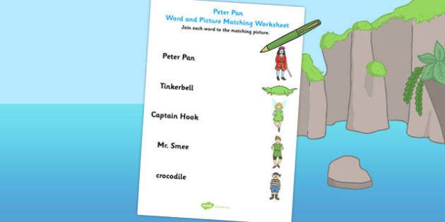 Peter Pan Word and Picture Match - matching, traditional, words