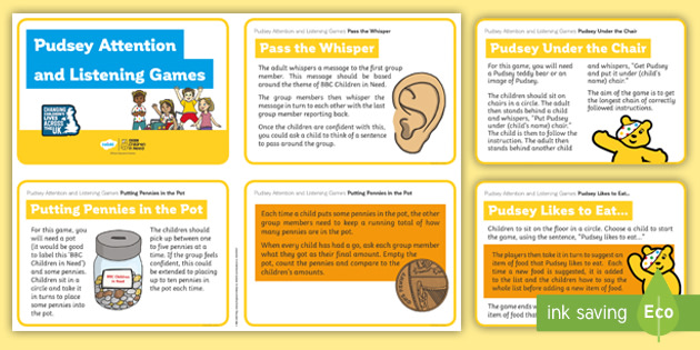 BBC Children in Need Pudsey Attention and Listening Games Cards