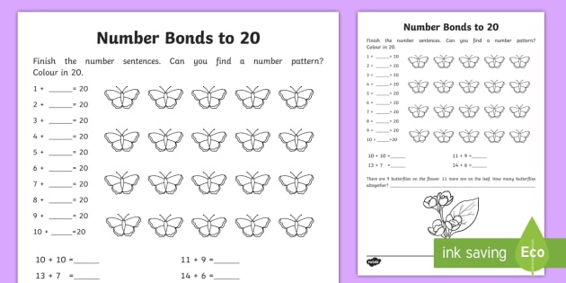 Number Bonds within 20 Worksheet / Activity Sheet - NI, KS1