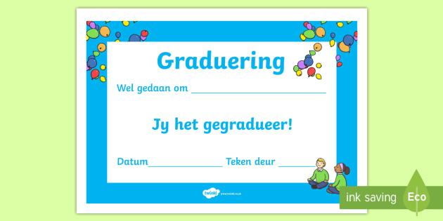 Skool gradueer sertifikate - Skool gradueer sertifikaat, sertifikate, gradeplegtiheid, gardueer, einde van die jaar, jaareinde.