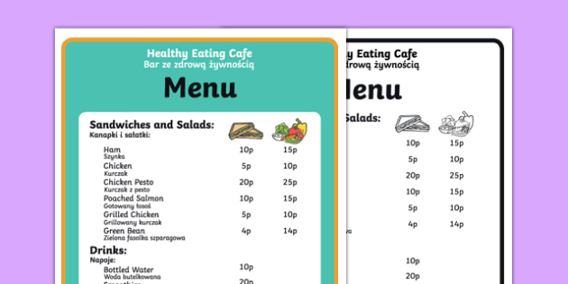 Healthy Eating Cafe Role Play Menu Polish Translation-Polish-translation