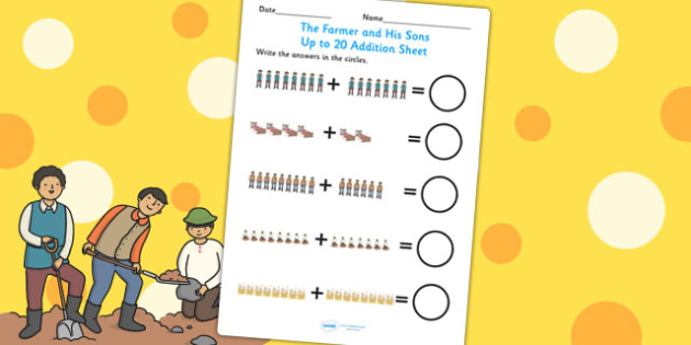 The Farmer and His Sons Up to 20 Addition Sheet - add, adding