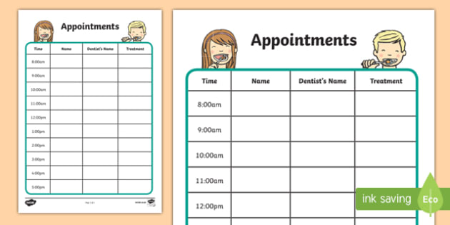 dentists dental surgery appointment sheet dentists dental
