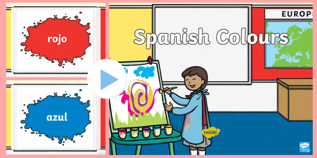 Spanish Colours PowerPoint - visual displays, colour, visual, aid