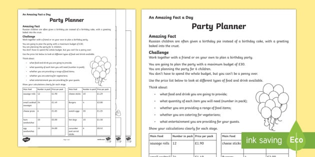 A Party Planner Worksheet / Activity Sheet